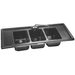 Large 3 Compartment Bar sink with Drain Boards
